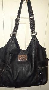 Black leather Nicole Miller purse